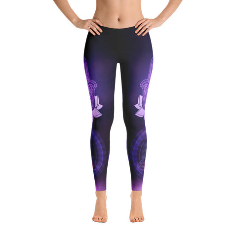 Purple Hamsa Chakra Yoga Leggings