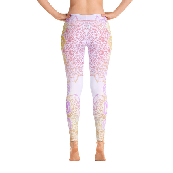 Pastel Mandala Flower Yoga Leggings