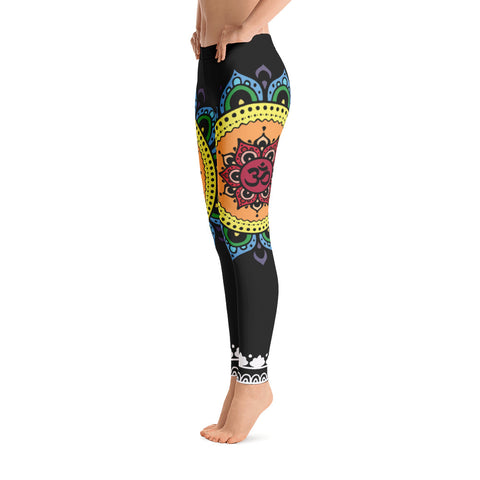 Rainbow Chakra Flower Yoga Leggings