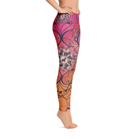 Lotus Elephant Yoga Leggings
