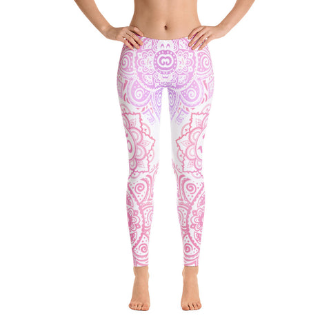 OM Pink Flower Yoga Leggings