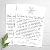 snowflake wedding welcome letters