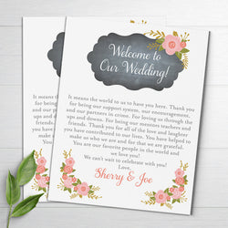Welcome Letters - Floral Chalkboard