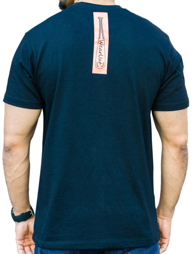Black tee with vertical orange baseball bat on back and world map patch on front left chest
