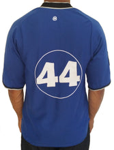 Blue number 44 Baseball Jersey. Back view.