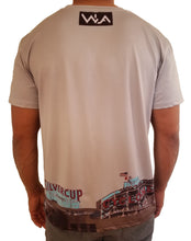 Back view of NYC landmark polyester/Spandex gray tshirt with designs at bottom.