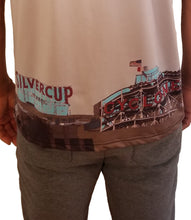 Zoomed back view of NYC landmark polyester/Spandex gray tshirt with designs at bottom.