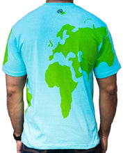 Earth shirt tee with world map on front, back and sleeves. Back view.
