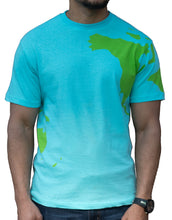 Earth shirt tee with world map on front, back and sleeves. Front view.