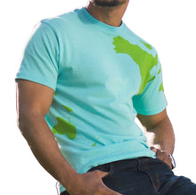 Earth shirt tee with world map on front, back and sleeves. Side view.