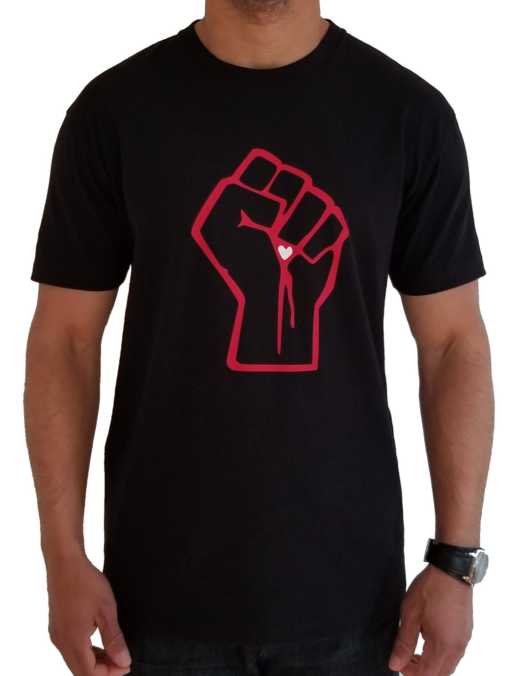 Front view of clenched fist in red outline with white heart.