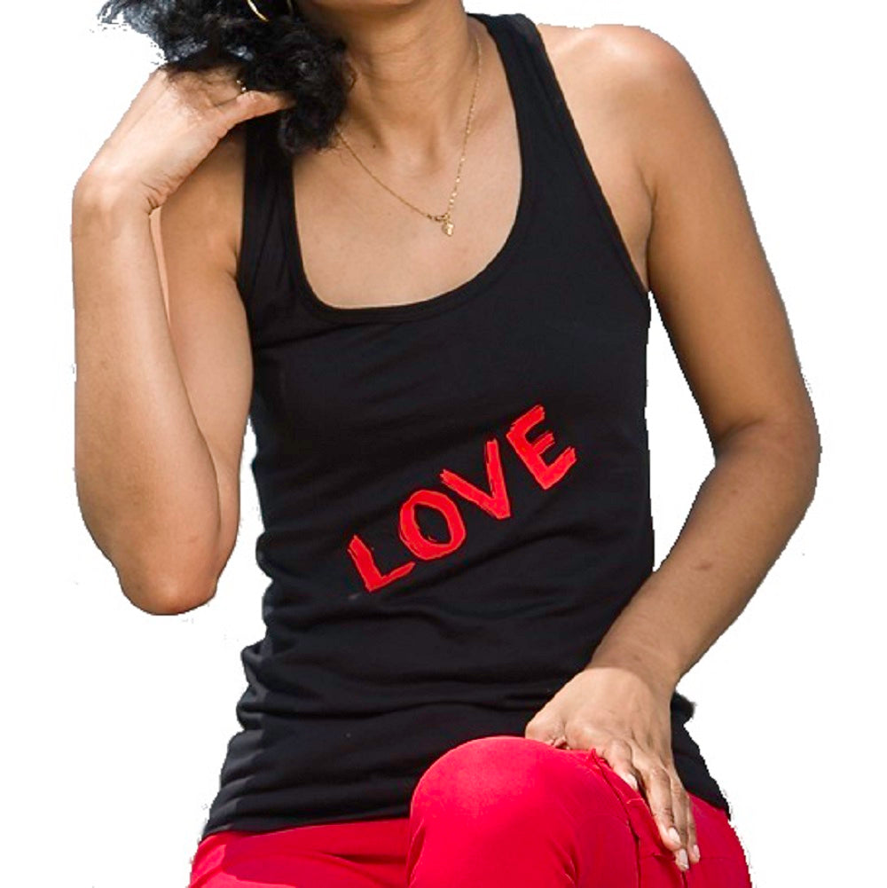 Front view of black tank top with bold red letters LOVE.