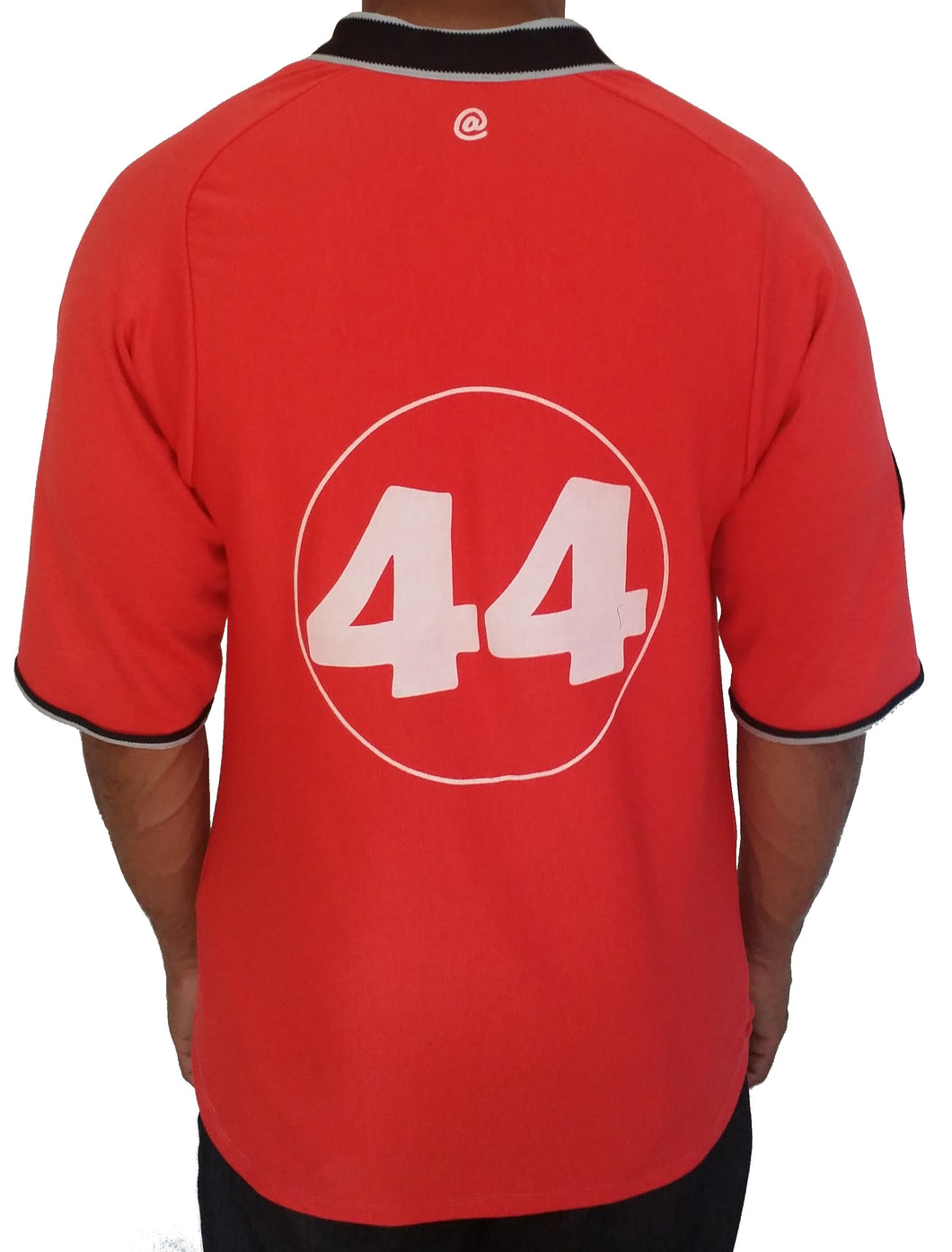 Orange number 44 Baseball Jersey. Back view.