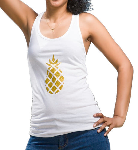 Front view of glitter gold pineapple tank top