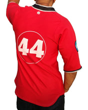 Red number 44 Baseball Jersey. Back view.