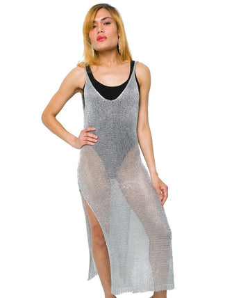 Silver Metallic Mesh Dress