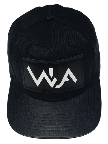 Black WearUat snapback hat. WUA logo embossed white in front. Cotton crown, pleather brim.