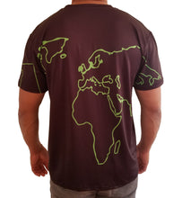 Back view of the black tshirt with green outlines of the world map. Spandex and polyester.