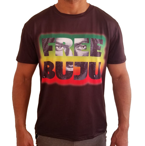 free buju tee front view, the new jim crow.