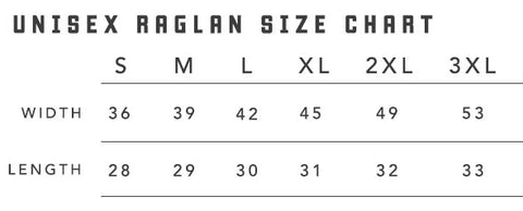 Next Level Raglan Size Chart