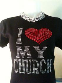 I Love My Church Bling Tee