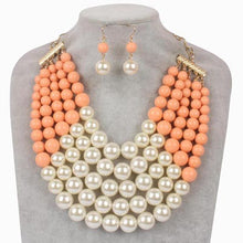 Pink and Pearl Necklace Set