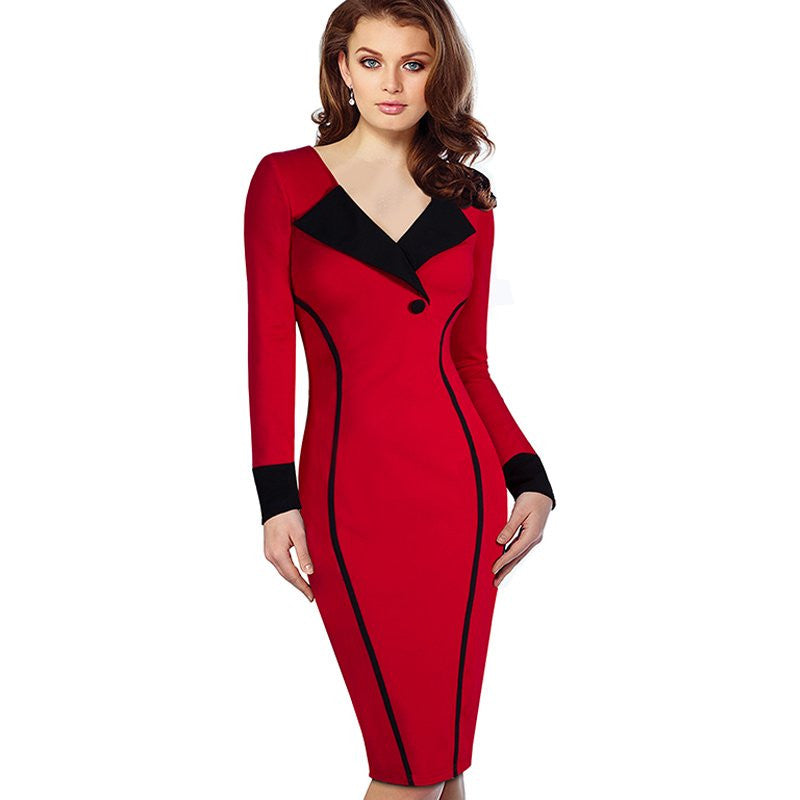 Professional Women Autumn Casual Work Business Office Colorblock Contrasting Long Sleeved Fitted Bodycon Pencil Dress EB355