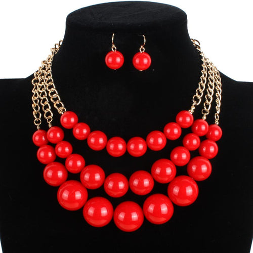 Red and Gold Pearl Necklace Set