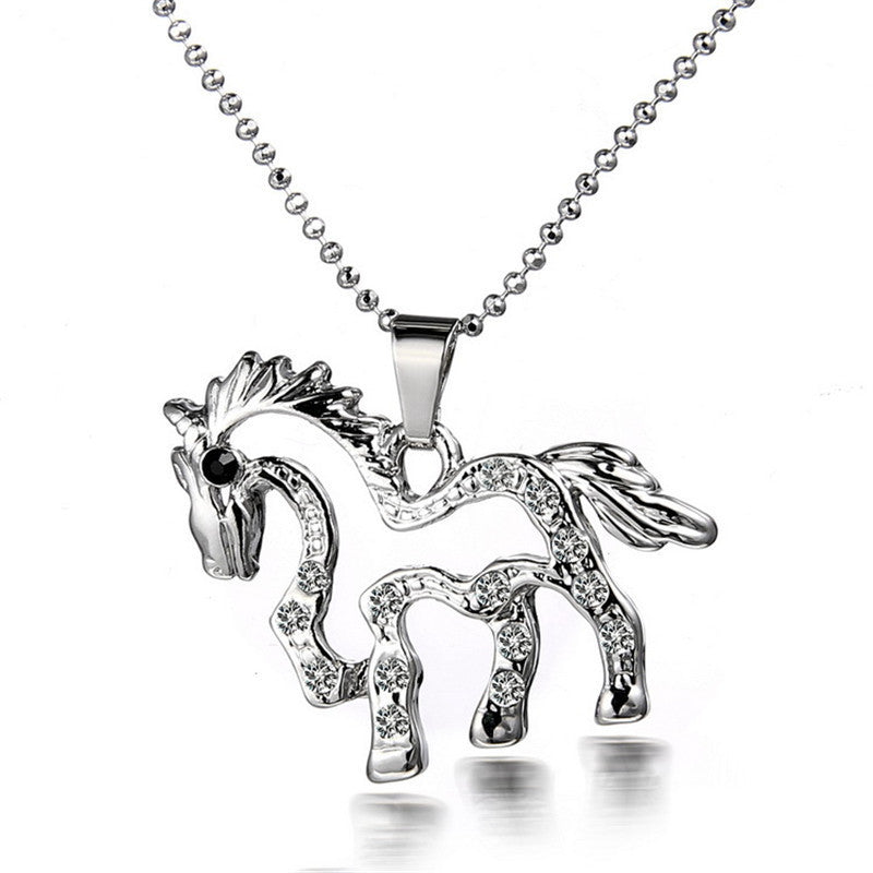 New Fashion Alloy Cute Small Horse Shape Pendant Necklace
