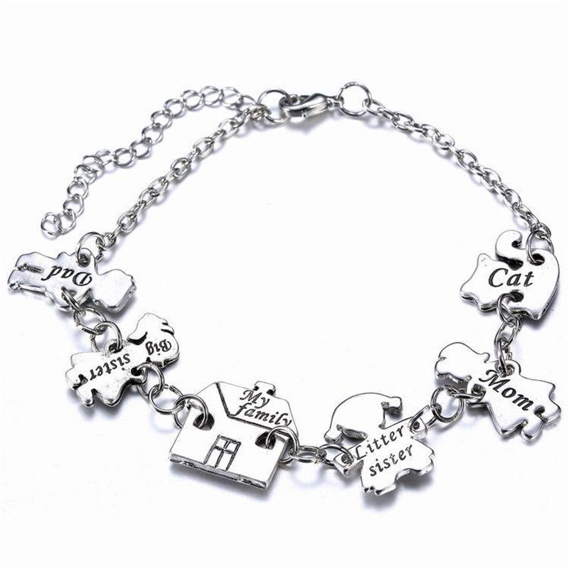Exquisite Creative Charm Bracelet New Fashion Happy Family  Silver Alloy Bracelet