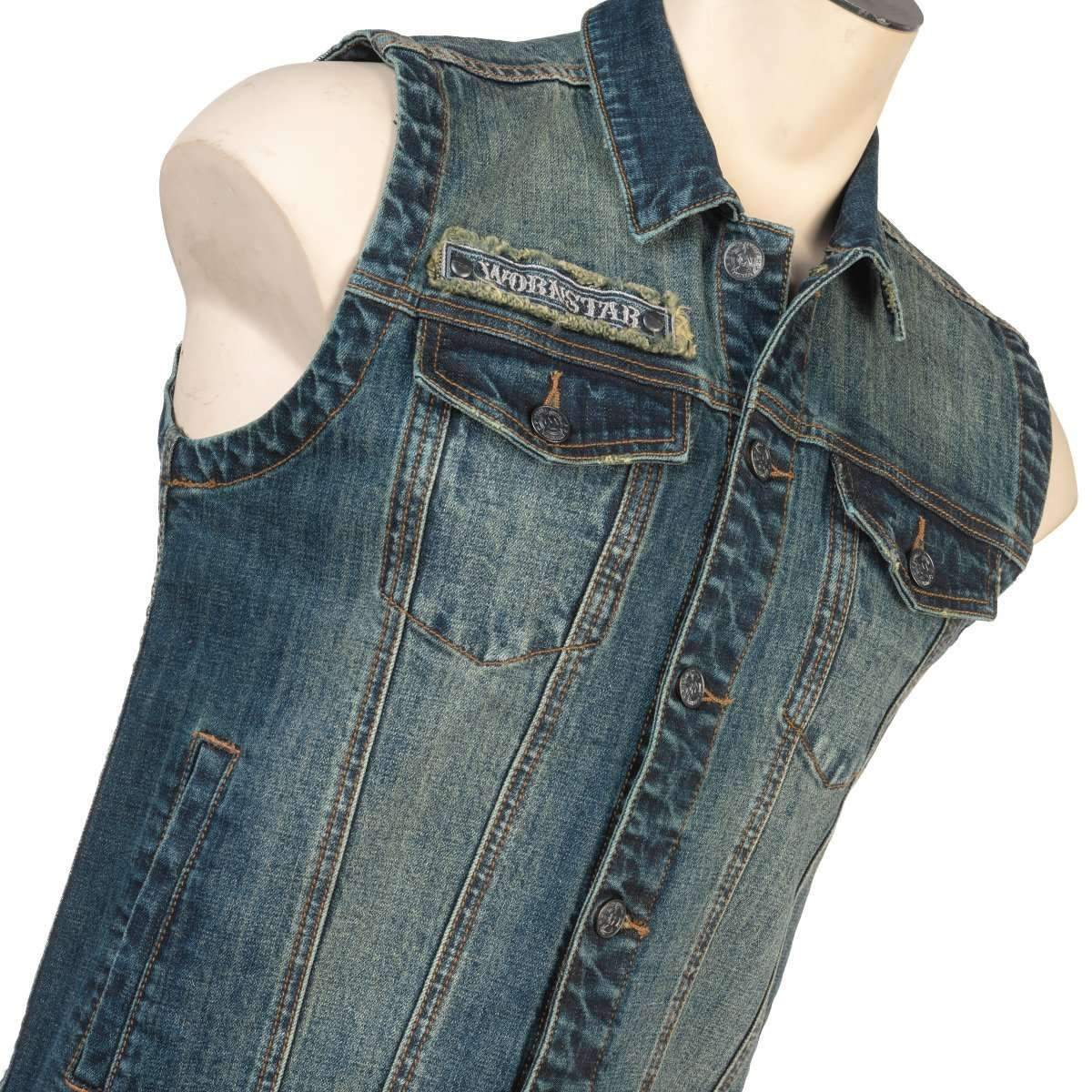 Wornstar Idolmaker Jacket - Vintage Blue Denim Sleeveless