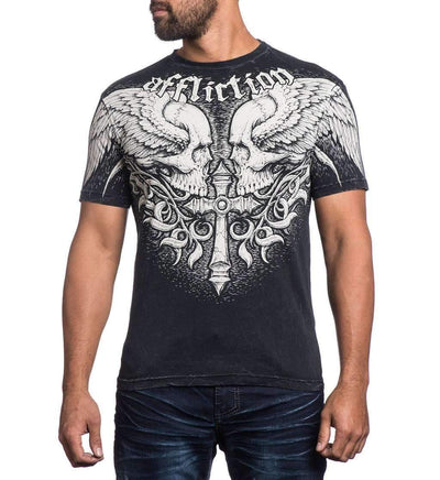 Affliction Power Tour Mens t Shirt - A13871 - Facing Skulls Graphic T Shirt NEW