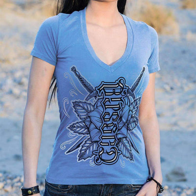 Red Chapter Womens 'Blessed / Cursed' Blue V Neck