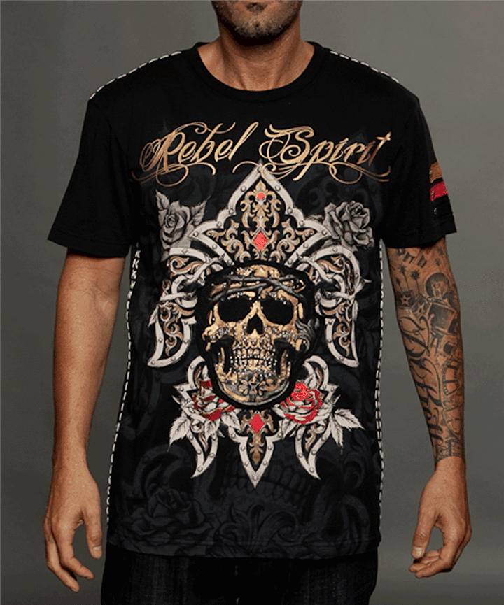 Rebel Spirit Mens Pirate Short Sleeved T-shirt