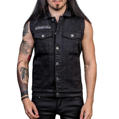 Wornstar Idolmaker Jacket - Vintage Black Denim Sleeveless