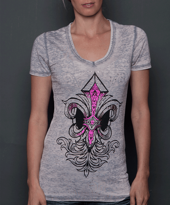 Rebel Spirit Women's Pink Fleur de Lys Grey T-Shirt