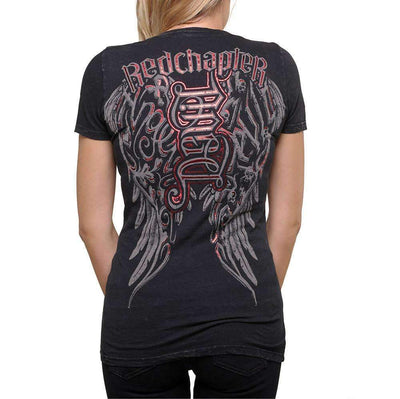 Red Chapter Womens 'Angel/Devil' Short Sleeve Black T Shirt