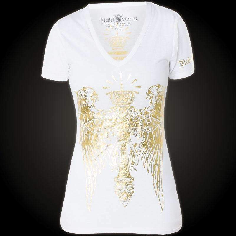 Rebel Spirit Women's Gold Wings White T-Shirt