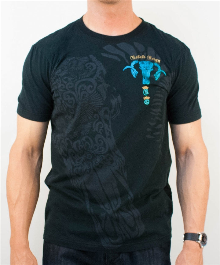 Rebel Spirit Mens Blue Ram Short Sleeved T-shirt