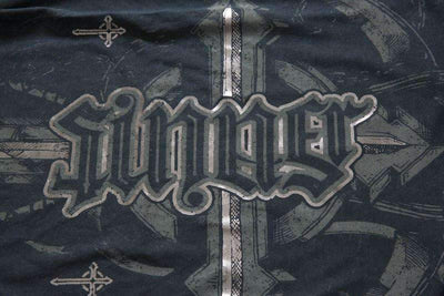 SAINT SINNER Red Chapter Ambigram T-Shirt Silver Foil