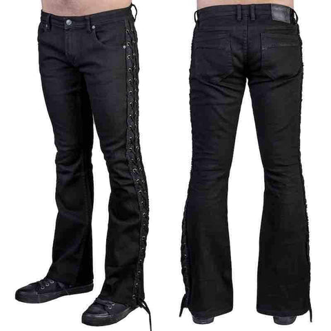 Image of Jeans - Wornstar 'HELLRAISER' Laced Side Boot Cut Jeans