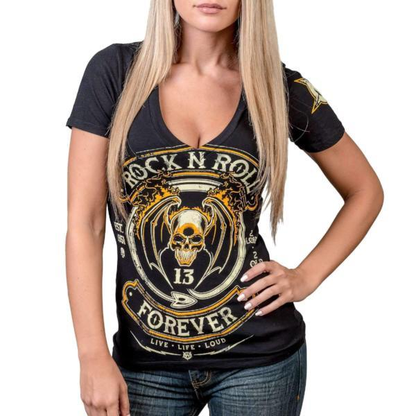 T-Shirt - Wornstar Rock And Roll Forever V Neck Tee Shirt