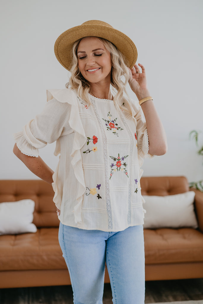 The Adelaide Embroidered Top in Ivory, half sleeve, women fashion, Wren & Ivory, Wren and Ivory, fashion top, Ivory top, round neck, loose cut, elastic sleeve, embroidered floral, crochet tape trim