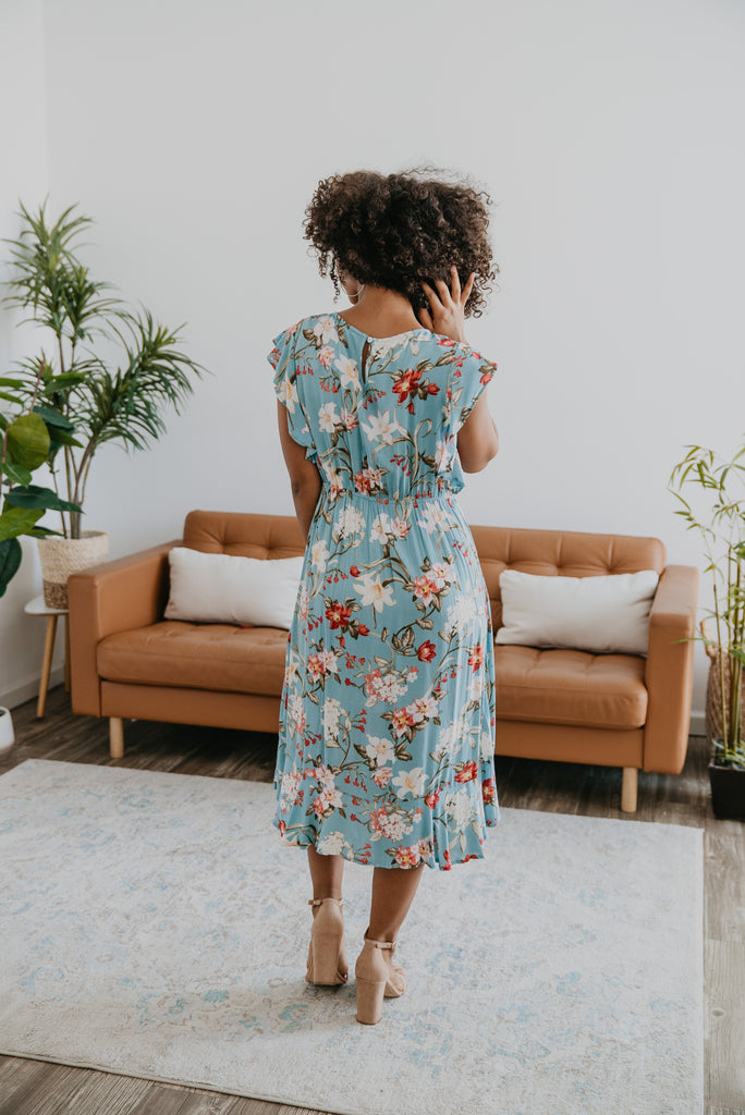 The Aliaz Hi-Low Floral Midi, beautiful dress, Baby Bump Friendly, midi, dusty blue, ruffle sleeve, fashion, floral print, Wren & Ivory, Wren and Ivory, flowy dress