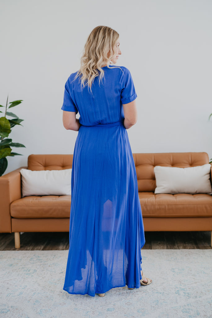 The Ashby Hi-Low Dress in Cobalt, short sleeves, maxi dress, fashion, Wren & Ivory, Wren and Ivory, solid blue, hi-low dress, partially lined, round neck, Baby Bump Friendly, embroidery, Self-tie belt, floral embroidery, beautiful dress, crepe fabric