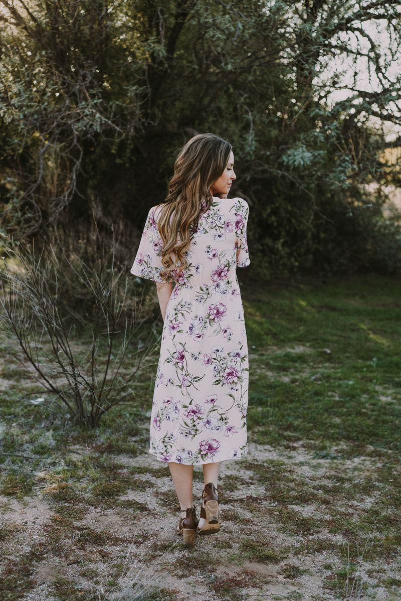 The Adaline Floral Midi in Blush