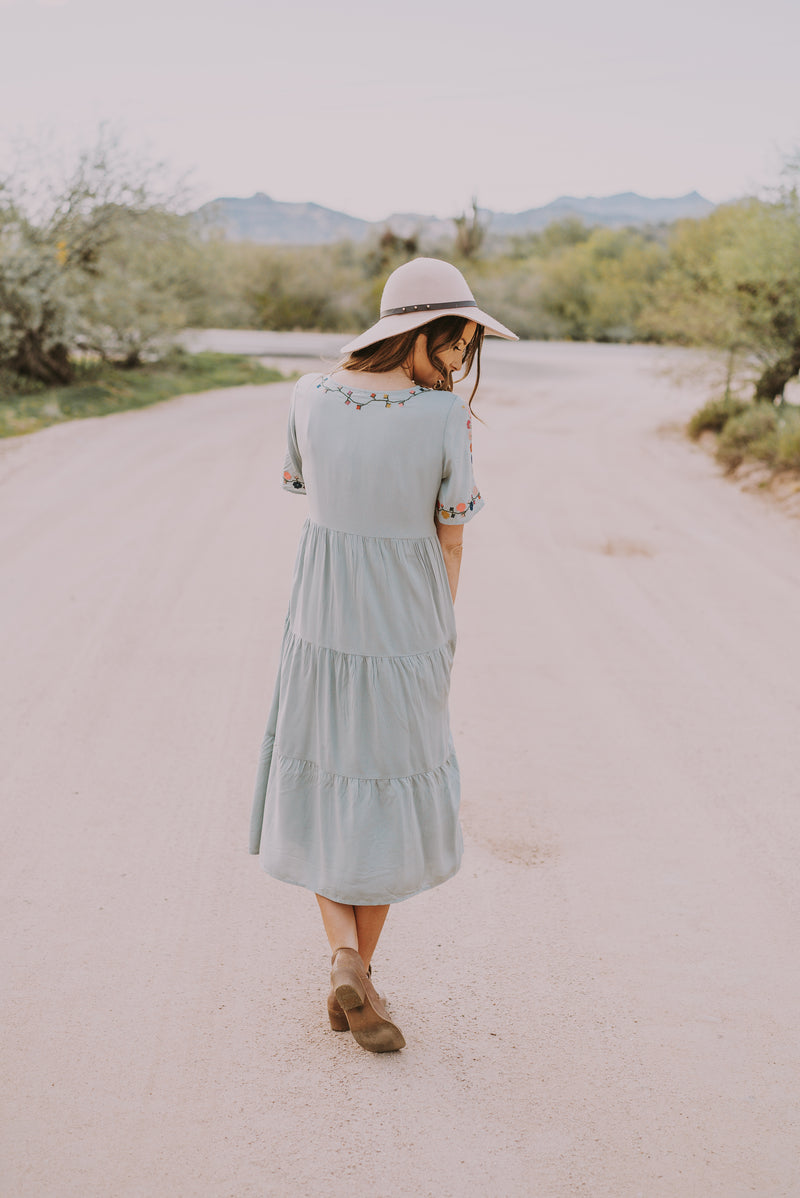 The Beau Embroidered Dress in Sage