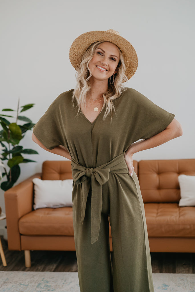 The Cassatt Tied Jumpsuit in Olive, short sleeves, jumpsuit, fashion, Wren & Ivory, Wren and Ivory, solid olive, wide leg, self tie waist, V-neck, dolman sleeve