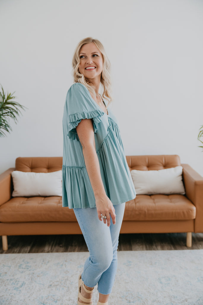 The Chana Jersey Top in Sea Foam, Jersey Knit Top, women fashion, Wren & Ivory, Wren and Ivory, fashion top, ruffle trim, relaxed fit, wide short sleeves,V-neck, summer top, Baby Bump Friendly