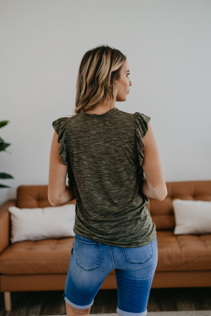 The Clayton Heather Ruffle Top in Olive, comfortable, short ruffle sleeve, round neck, soft fabric, cute top, women's fashion, Wren & Ivory, Wren and Ivory, heather fabric, olive top, ruffle pocket, Baby Bump Friendly